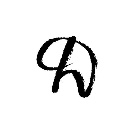 Letter D. Handwritten by dry brush. Rough strokes font. Vector illustration. Grunge style elegant alphabet