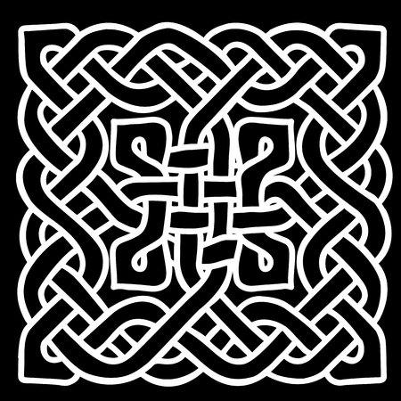 Celtic black and white pattern. Scandinavian ornament. Ribbon background. Vector illustration. Illustration