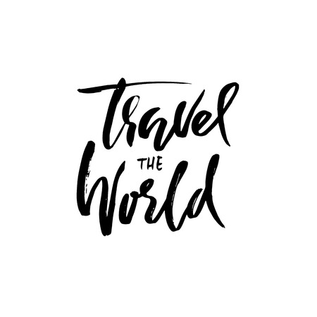 Travel the world handwritten lettering.