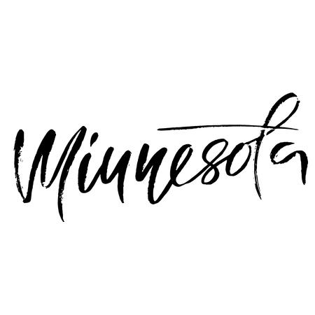 Minnesota. Modern dry brush lettering. Illustration