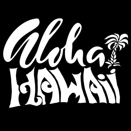 hand print: Hand drawn phrase Aloha Hawaii. Lettering design. Vector palm illustration. Handwritten inscription.