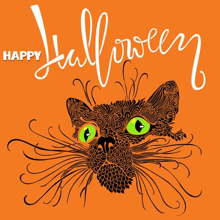 Halloween black cat with green eyes. Mandala pattern style. Happy Halloween handwritten lettering card. Vector illustration Illustration