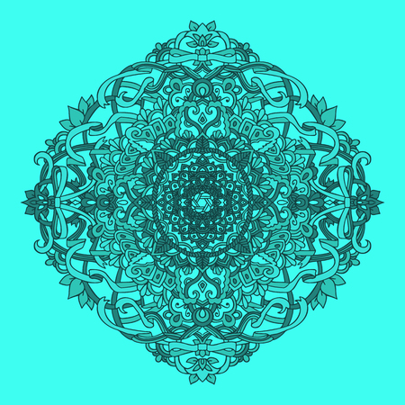 hand print: Ethnic pattern. Authentic blue mandala print. Amazing background. Vector illustration.