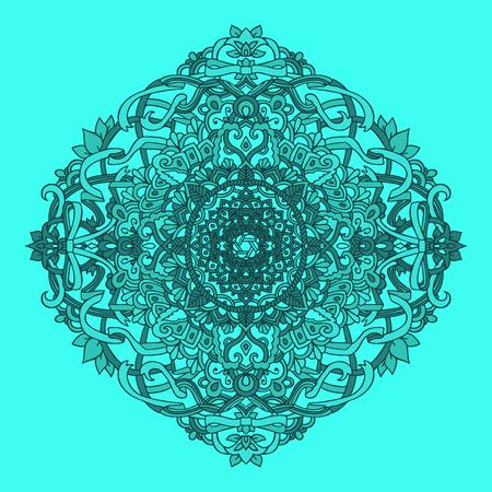 Ethnic pattern. Authentic blue mandala print. Amazing background. Vector illustration.