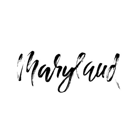 Maryland. Modern dry brush lettering. Retro typography print. Vector handwritten inscription. USA state.