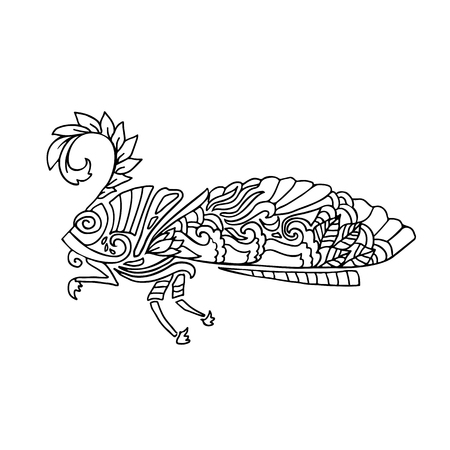 wite: Black and wite moth with ethnic floral ornaments for adult coloring book. Zentagle pattern. doodle illustration. Night-fly moth