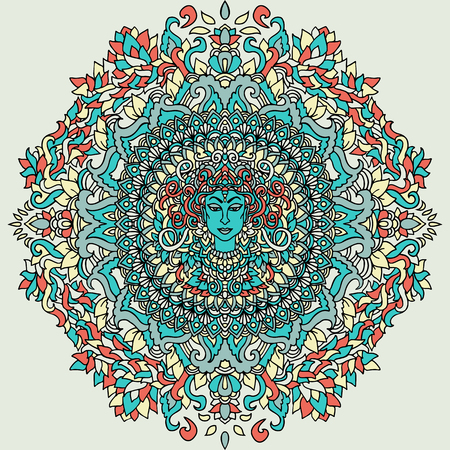 Abstract mandala ornament. Asian pattern. Authentic background. illustration. Blue Kali face