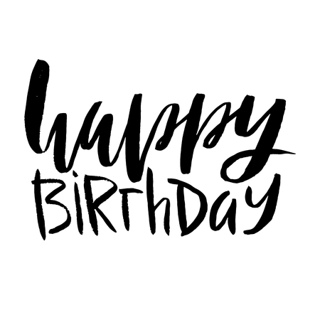 Happy birthday lettering. Inscription isolated on white background