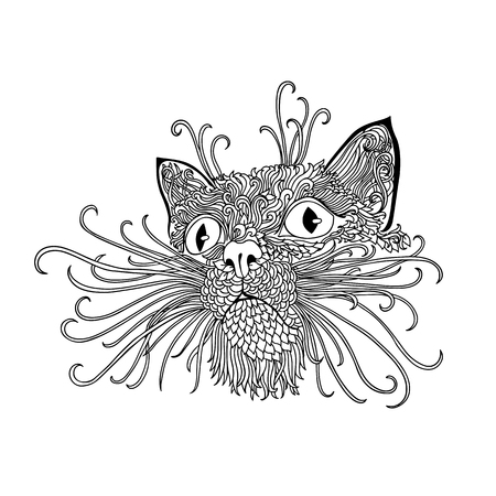wite: Black and wite cat with ethnic floral ornaments for adult coloring book. Zentagle pattern. doodle illustration. Portrait of a cute pet