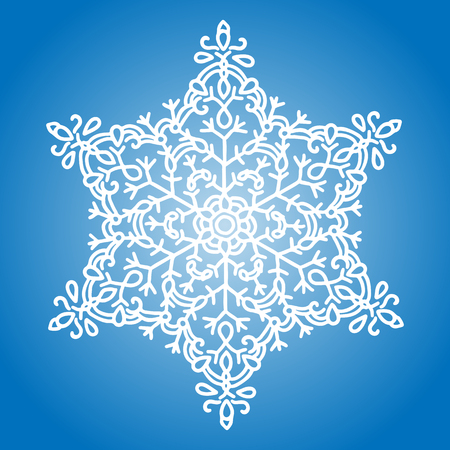 Winter white snowflake on blue background. Christmas element. Vector illustration. Stock Photo