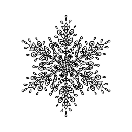 Set of snowflakes. Holiday collection. Black snowflakes collection isolated on white background. Vector illustration. Illustration