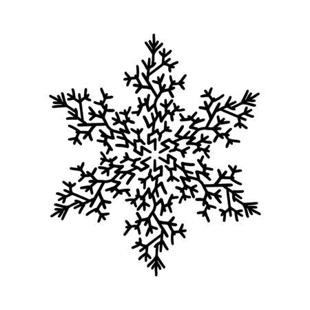 Winter snowflake. Holiday element. Black snowflake isolated on white background. Vector illustration.