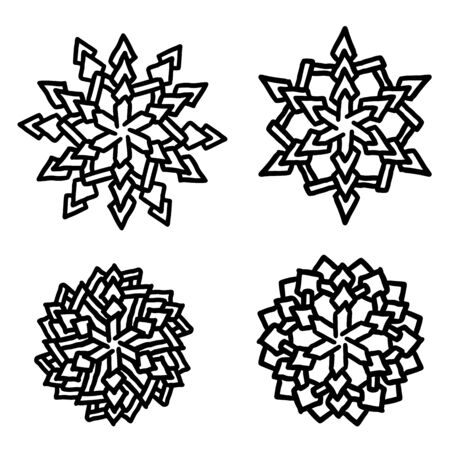 Set of snowflakes; Holiday collection in Black and white; Snowflakes collection isolated on white background.