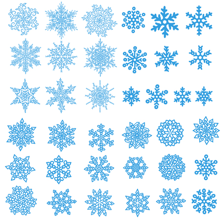 Holiday collection. Blue snowflakes collection isolated on white background.