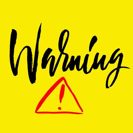 Warning exclamation mark. Icon vector symbol. Grunge design texture. Black ink element on white background.