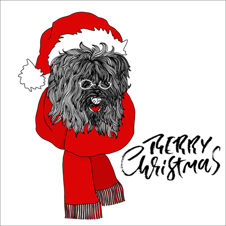 New year card with fluffy dog in santa claus red hat and glasses. Black and white vector illustration.