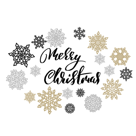 Merry Christmas on gold and silver snowflakes background. Holiday modern dry brush ink lettering for greeting card. Vector illustration