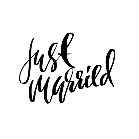 Just married. Dry brush lettering. Hand drawn calligraphy card. Modern typography poster. Vector illustration Stock Illustratie