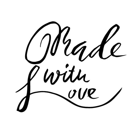 Made with love. Hand drawn dry brush lettering. Modern logo for your product and shop. Vector illustration.