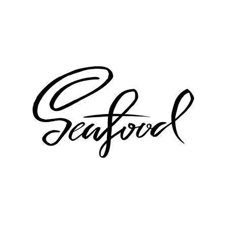 Seafood. Handdrawn brush pen inc lettering. Could be used for seafood market. Vector illustration