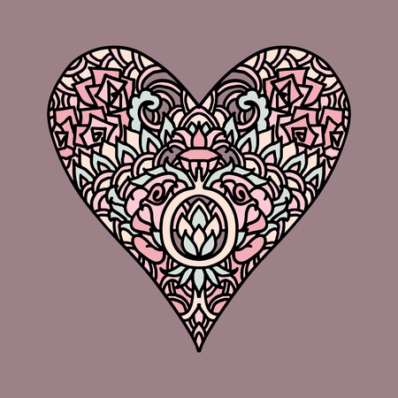 Handdrawn zentangle heart. Mandala style design for St. Valentine day cards. Coloring book pattern. Vector doodle illustration Illustration