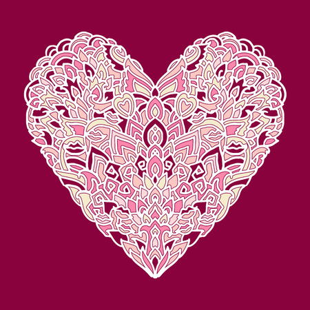 Handdrawn Zentangle Heart Mandala Style Design For St Valentine Day Cards Coloring Book