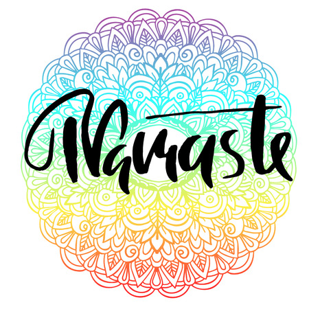 Namaste modern dry brush lettering on mandala pattern vector illustration Illustration