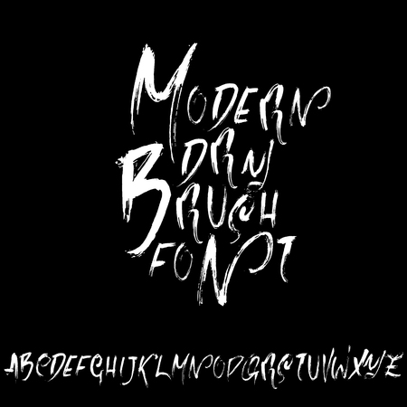 Handdrawn dry brush font. Modern brush lettering. Grunge style alphabet. Vector illustration Illustration