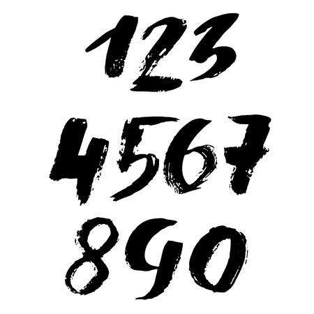 Set of grunge handdrawn numbers. Modern dry brush lettering. Vector illustration