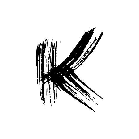 Letter K. Handwritten by dry brush. Rough strokes font. Vector illustration. Grunge style elegant alphabet.