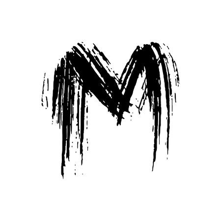 Letter M. Handwritten by dry brush. Rough strokes font. Vector illustration. Grunge style elegant alphabet.