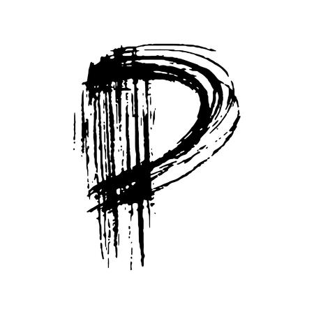 Letter P. Handwritten by dry brush. Rough strokes font. Vector illustration. Grunge style elegant alphabet.
