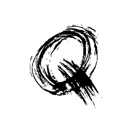 Letter Q. Handwritten by dry brush. Rough strokes font. Vector illustration. Grunge style elegant alphabet.