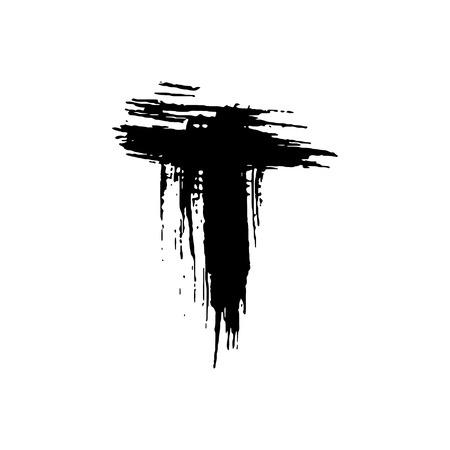 Letter T. Handwritten by dry brush. Rough strokes font. Vector illustration. Grunge style elegant alphabet.
