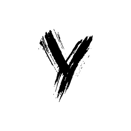 Letter Y. Handwritten by dry brush. Rough strokes font. Vector illustration. Grunge style elegant alphabet.
