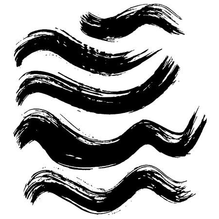 Grunge inkt penseelstreken. Set zwarte borstels uit de vrije hand. Handgetekende droge borstel zwarte vlekken. Moderne vectorillustratie