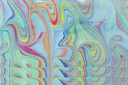 Ink marble texture. Ebru handmade wave background. Kraft paper surface. Unique art illustration. Liquid marbling texture.