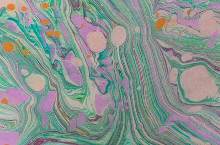 Ink handdrawn marble texture. Ebru handmade wave background. Kraft paper surface. Unique art illustration. Liquid marbling texture.