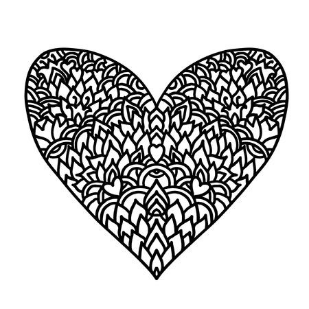 Cuore disegnato a mano. Design in stile mandala per carte di giorno di San Valentino. Modello di libro da colorare. Illustrazione di doodle di vettore in bianco e nero