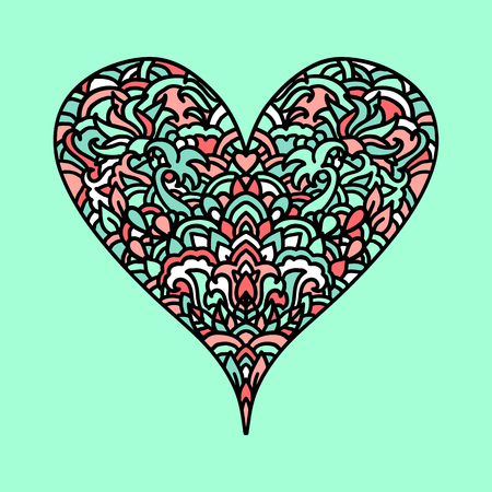 Handdrawn Zen Tangle Heart Mandala Style Design For St Valentine Day Cards Coloring
