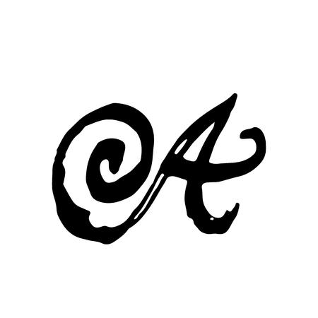 Handwritten by dry brush. Rough strokes font Vector illustration. Grunge style elegant alphabet.