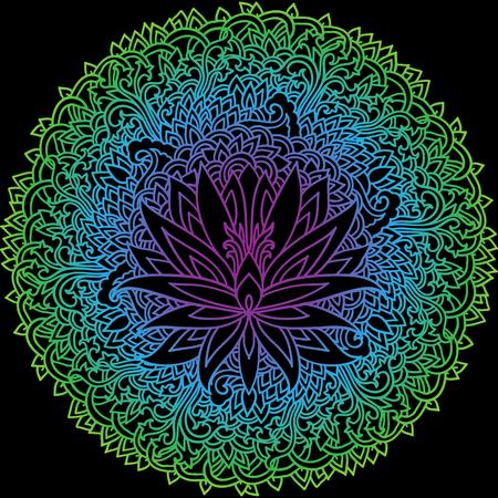 Abstract mandala ornament. Asian pattern. Gradient authentic vector illustration on black background. Illustration