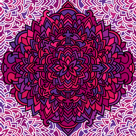 Violet seamless pattern. Mandala background. Vector blossom illustration Stock Photo