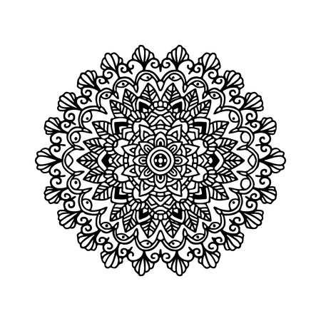 Abstract mandala ornament, Asian pattern, black and white authentic background vector illustration. Illustration