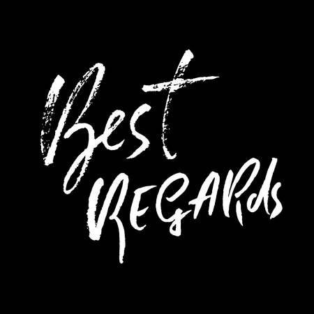 Best Regards hand drawn modern dry brush lettering.