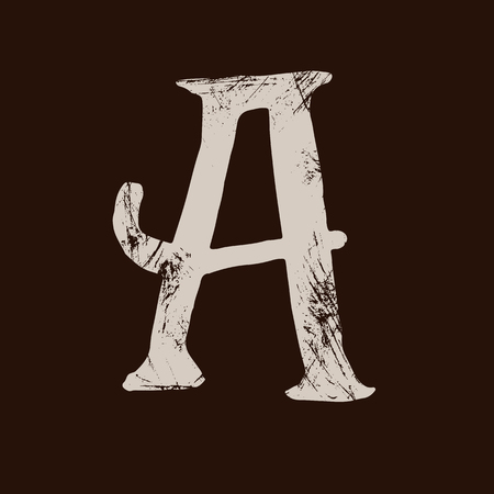 Letter A. Handwritten by dry brush. Rough strokes textured font. Vector illustration. Grunge style elegant alphabet.