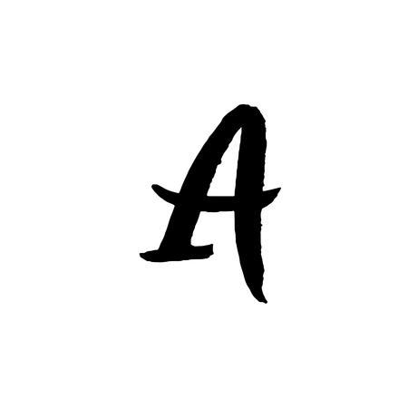 Letter A on Handwritten by dry brush. Rough strokes textured font Vector illustration. Stock Illustratie