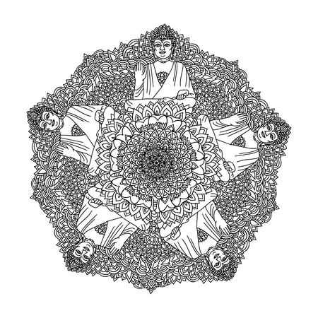 Abstract mandala ornament. Asian pattern. Black and white authentic background with Buddha. Vector illustration.