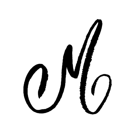Letter M. Handwritten by dry brush. Rough strokes textured font. Vector illustration. Grunge style elegant alphabet.