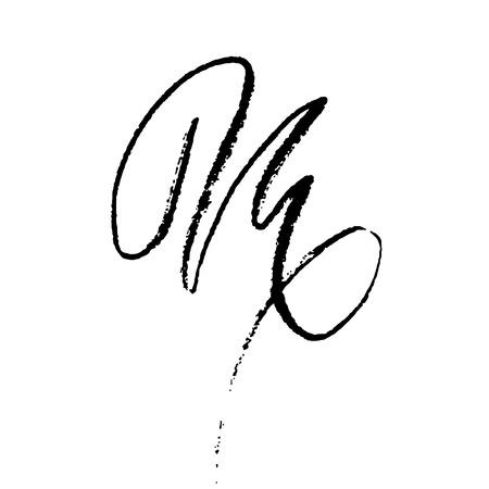 Letter M. Handwritten by dry brush. Rough strokes textured font. Vector illustration. Grunge style elegant alphabet.